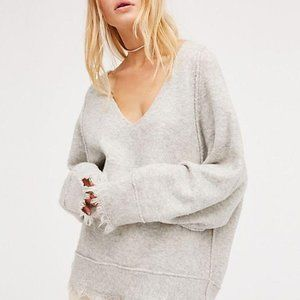 Free People Irresistible V-Neck grey sweater